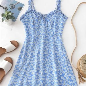 Smocked lace up floral dress